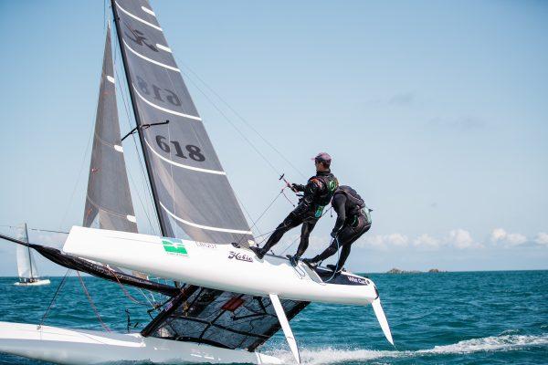 Hobie Wildcat winners, Adrian Jesson (helm) and Paul Martin (crew) RCHI